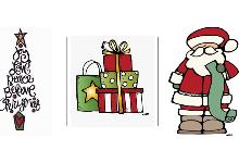 tree, santa and gifts