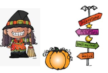 witch and pumpkin and sign