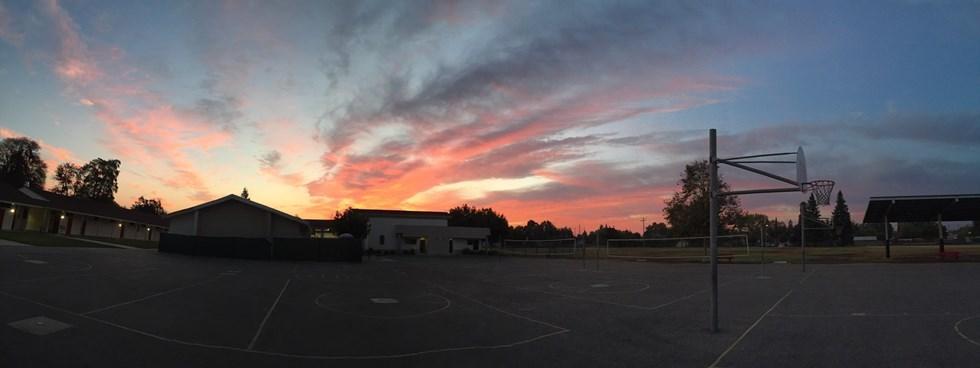 Weldon school at sunrise
