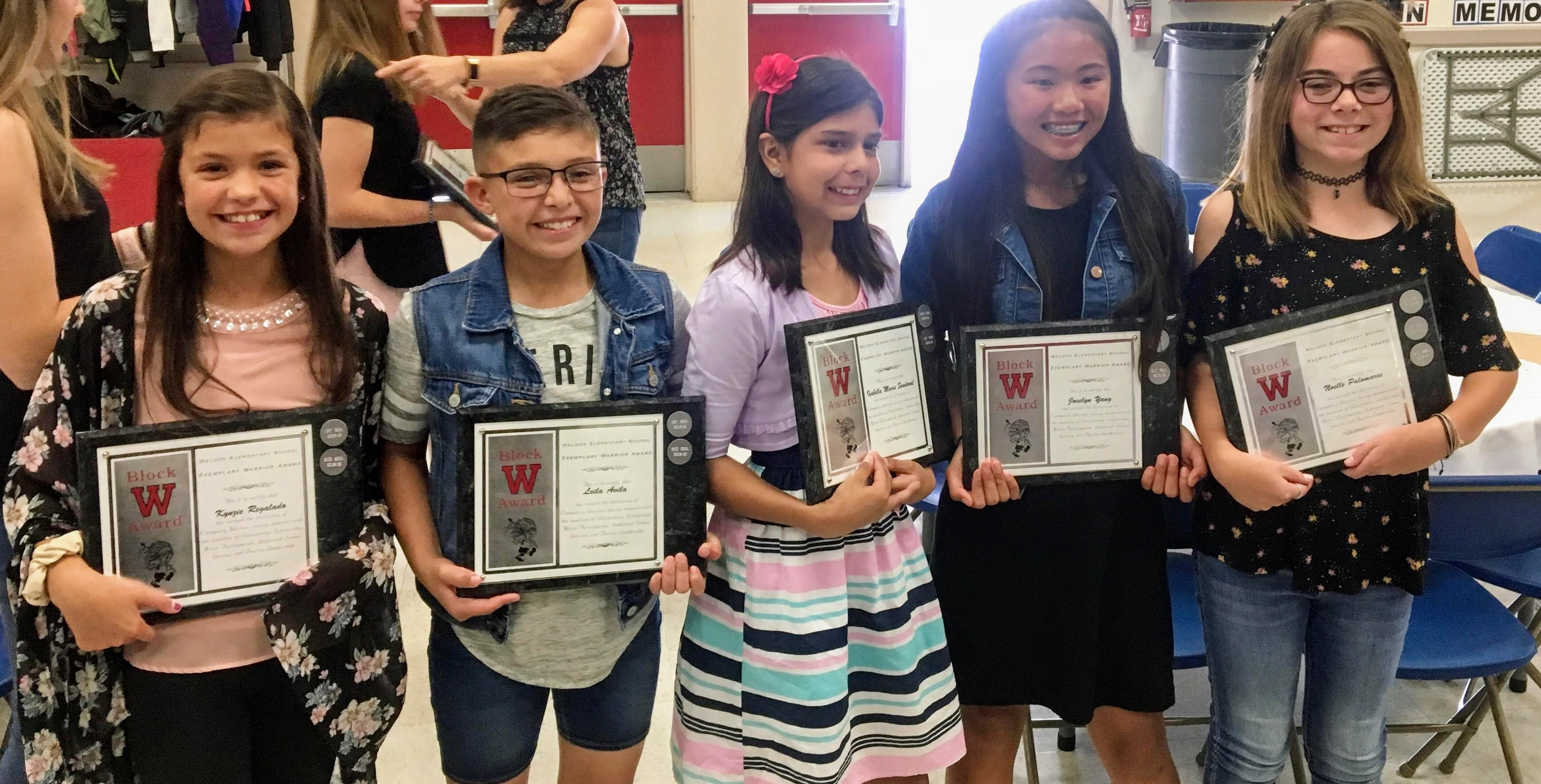Students with Block W Award