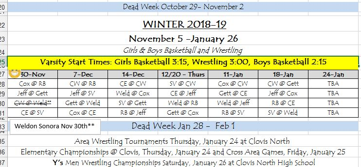 Winter  Sports schedule
